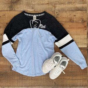 PINK VS Baby Blue & Charcoal Sweatshirt
